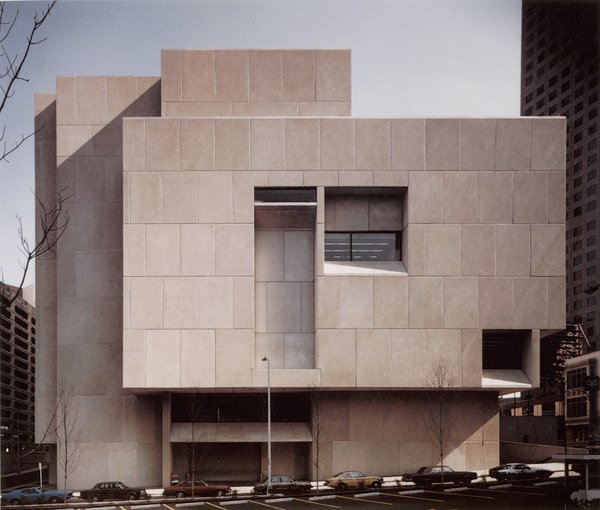 "The last structure that Breuer designed (he was too ill to attend the dedication ceremony), the Atlanta Central Library was an evolution of the style and shapes used for the Whitney, a sculptural structure of cubes right angles. The airy shapes, combined with the heavy massing of concrete, led Barry Bergdoll, the chief curator of architecture at the Museum of Modern Art, to refer to this type of construction as ""the invention of heavy lightness."""