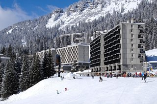 One of the most prestigious architects to tackle the challenge of après-ski, Breuer devised a scheme for Flaine that integrated it as much as possible into the surrounding French Alps. His design for the hotel and village played with snow and sun, supposedly including diamond-shaped facades that reflected the light.