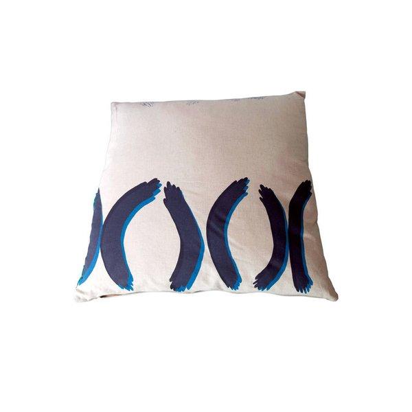 Luca Jackson Hand Printed Pillow – Blue Hands
