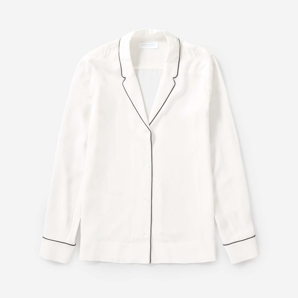 Everlane Piped Silk Notch Collar Shirt