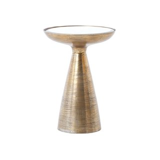 Marlow Mod Pedestal Table, Brushed Brass
