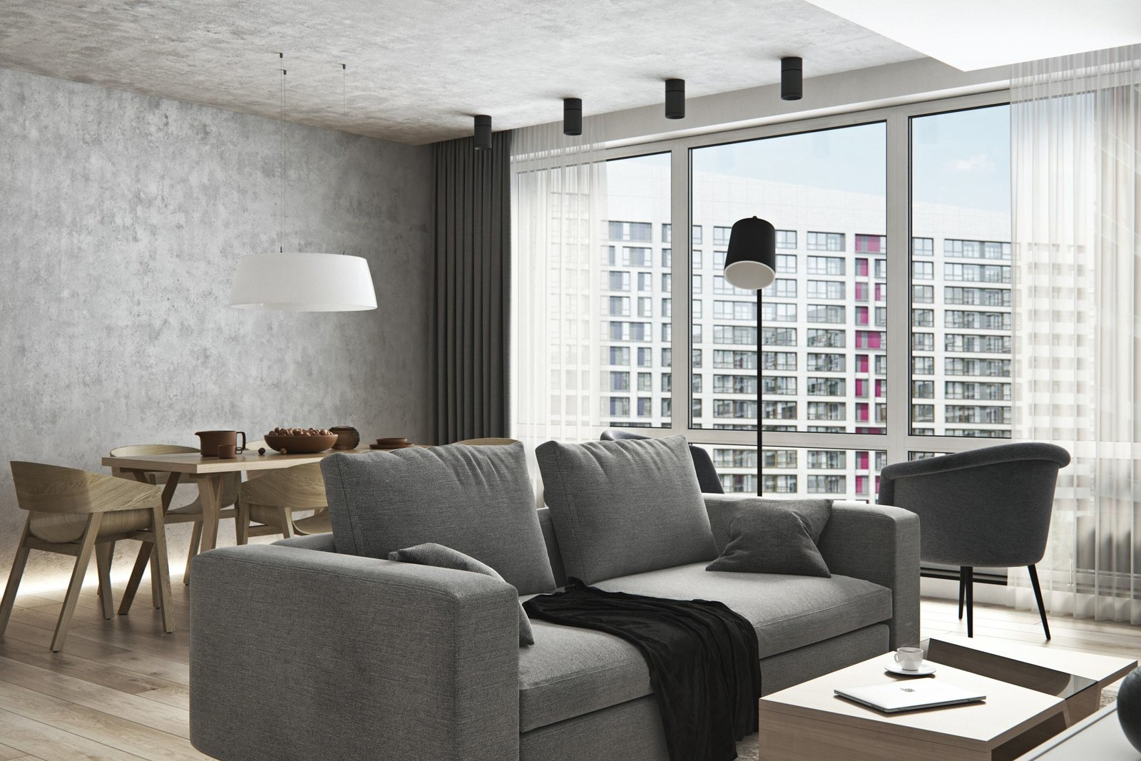 Living Room  Interior Design Project in Contemporary Style by Geometrium