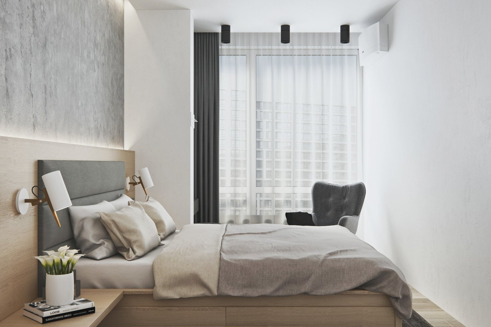 Bedroom and Bed  Interior Design Project in Contemporary Style by Geometrium
