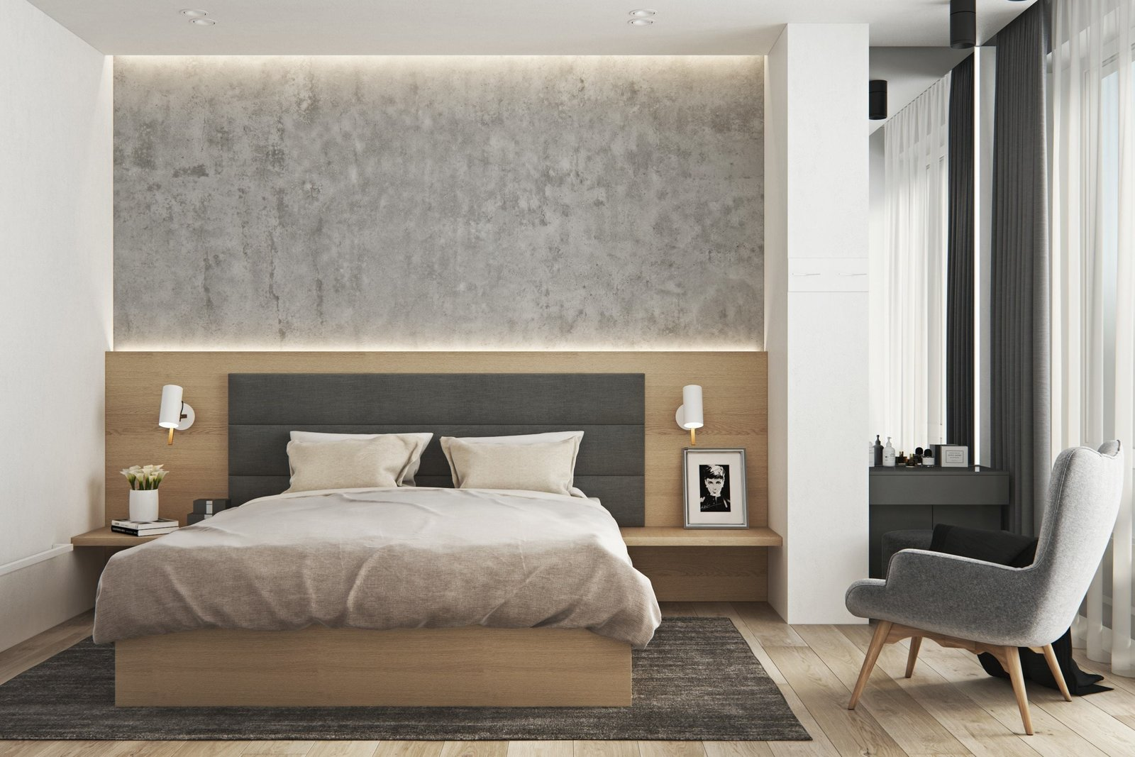 Bedroom, Bed, and Chair  Interior Design Project in Contemporary Style by Geometrium