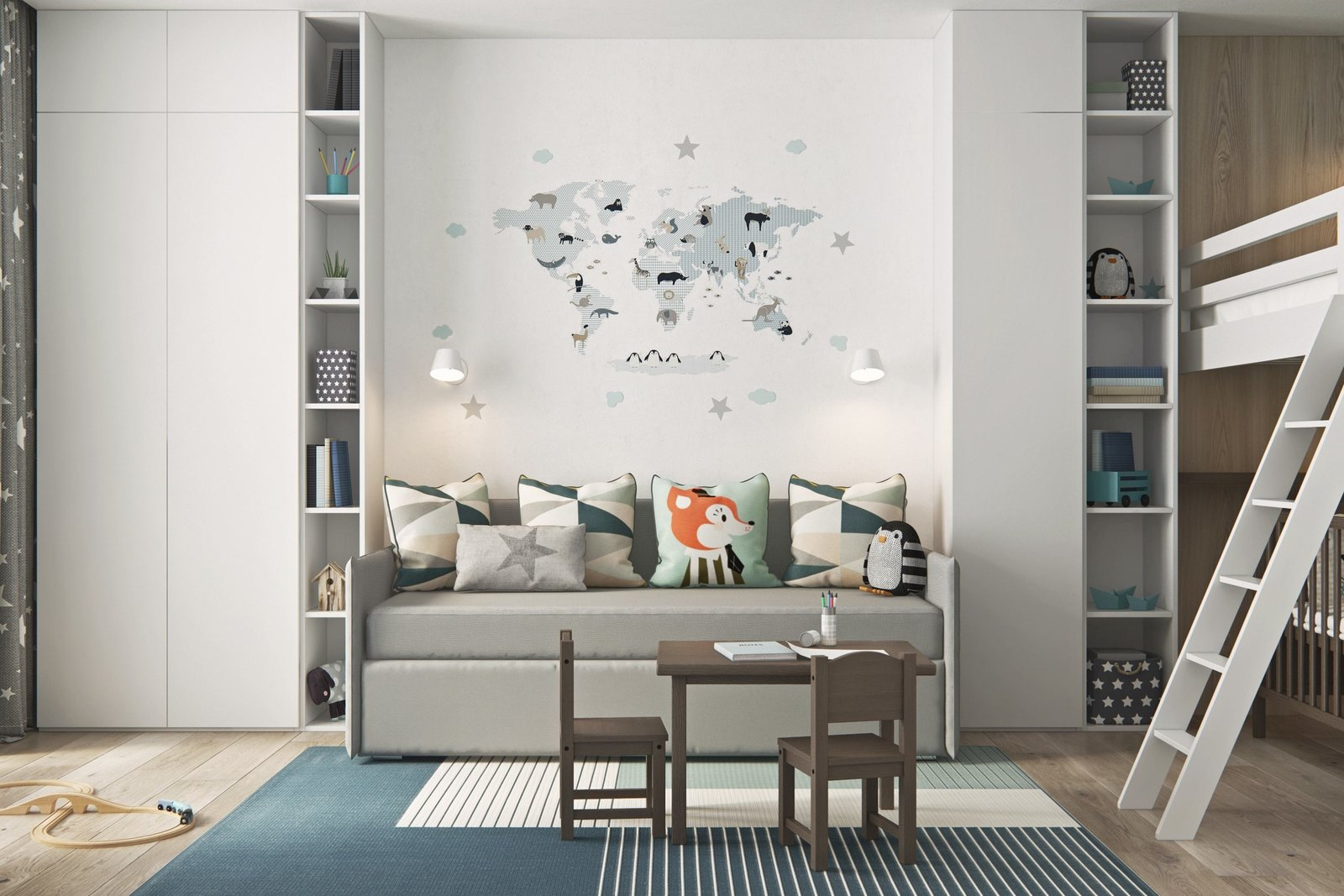 Kids Room, Bench, and Chair  Interior Design Project in Contemporary Style by Geometrium