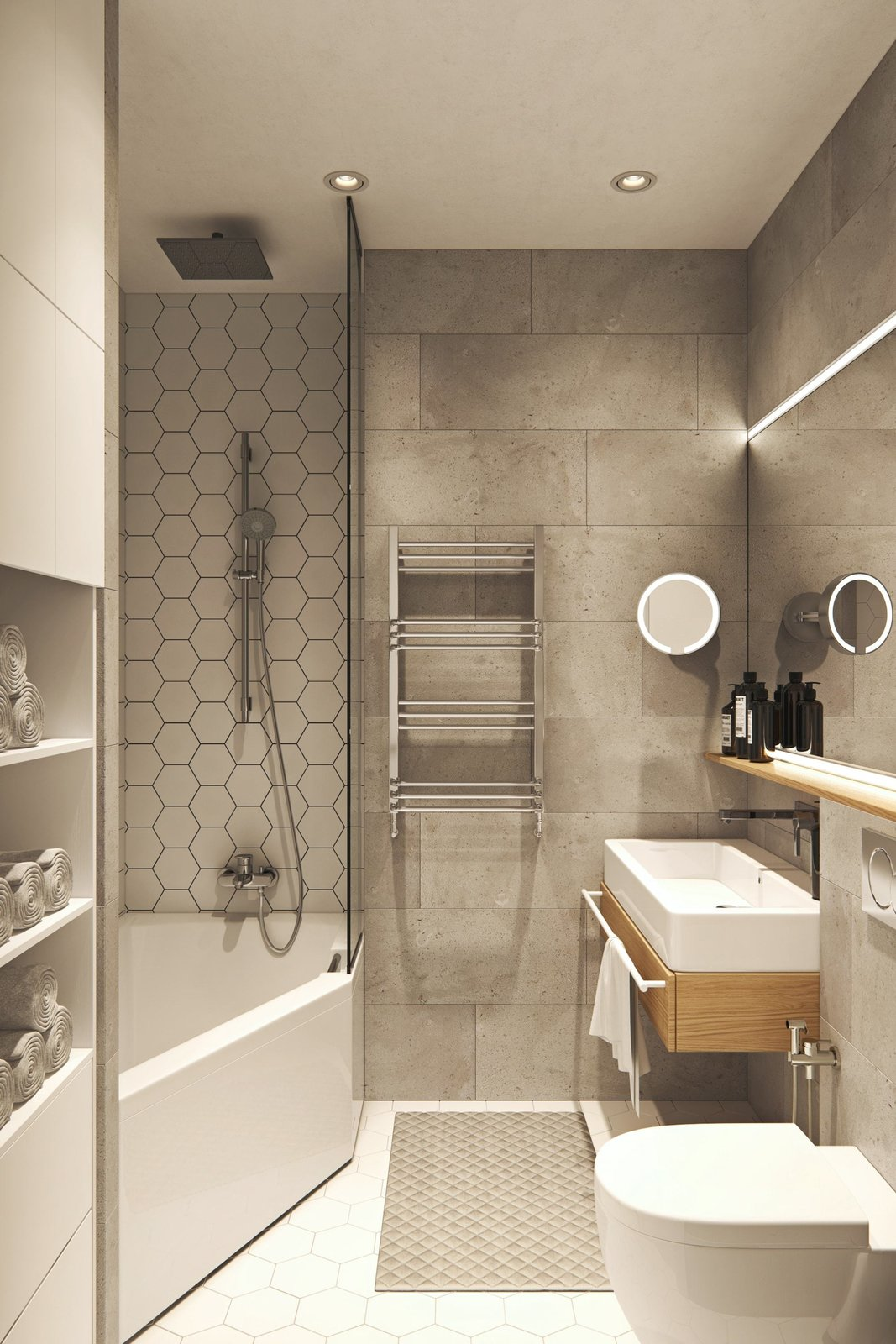 Bath Room  Interior Design Project in Contemporary Style by Geometrium