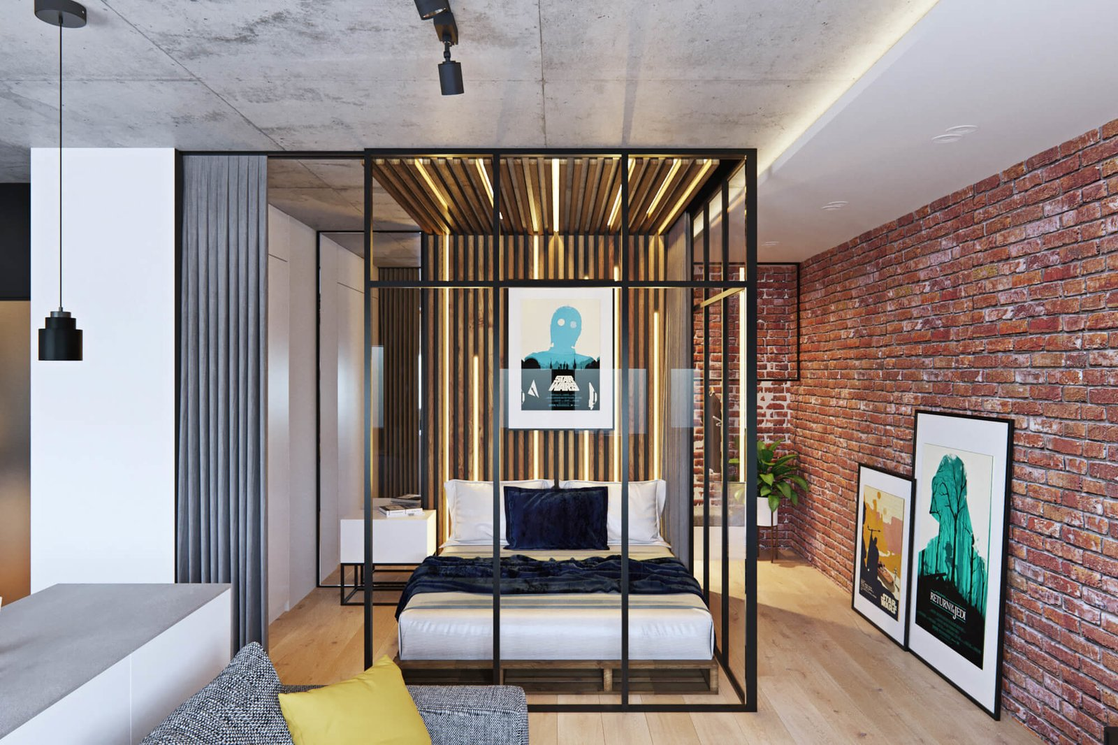 Bedroom and Bed  A Contemporary Apartment for a Single Man in Moscow
