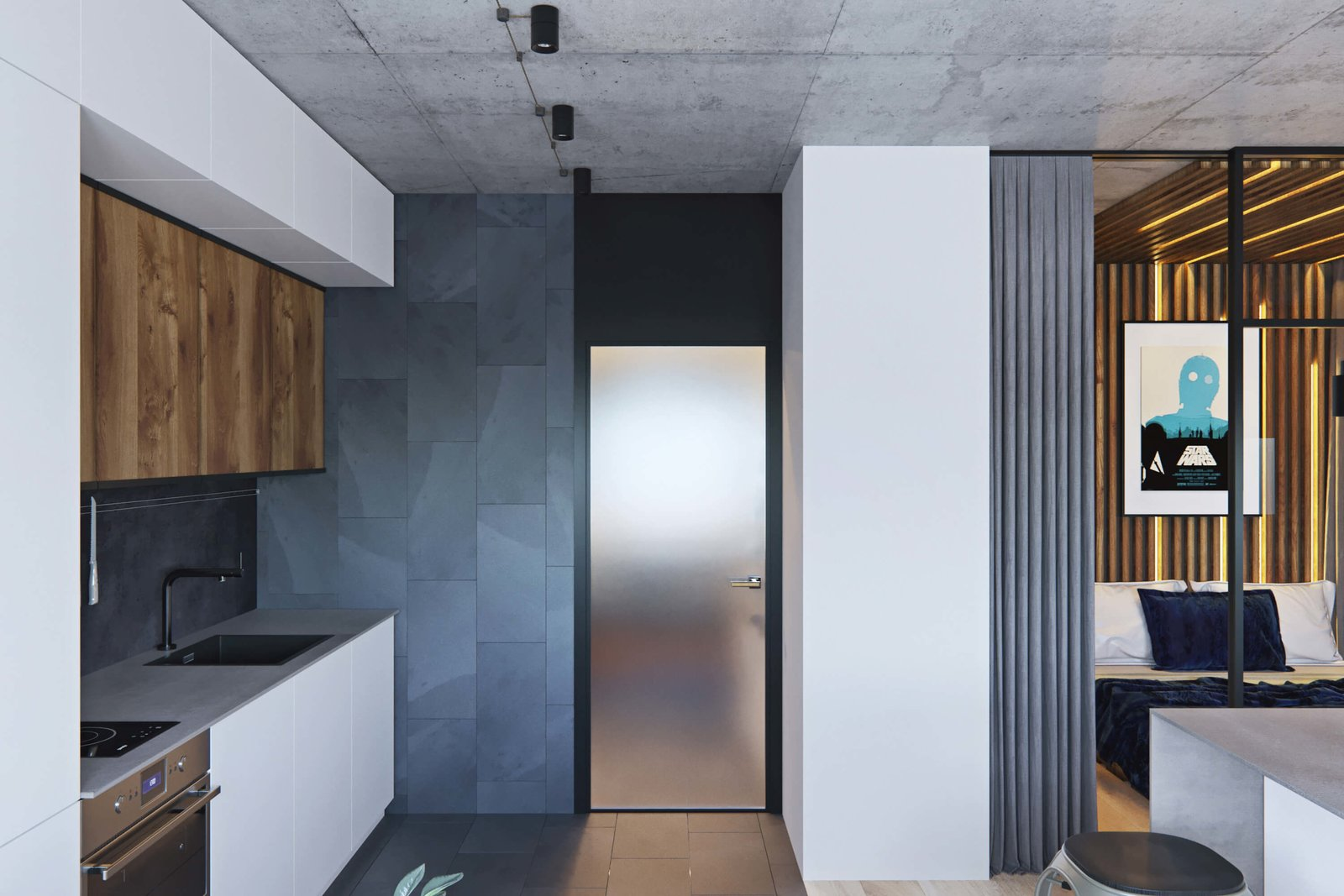 Kitchen  A Contemporary Apartment for a Single Man in Moscow