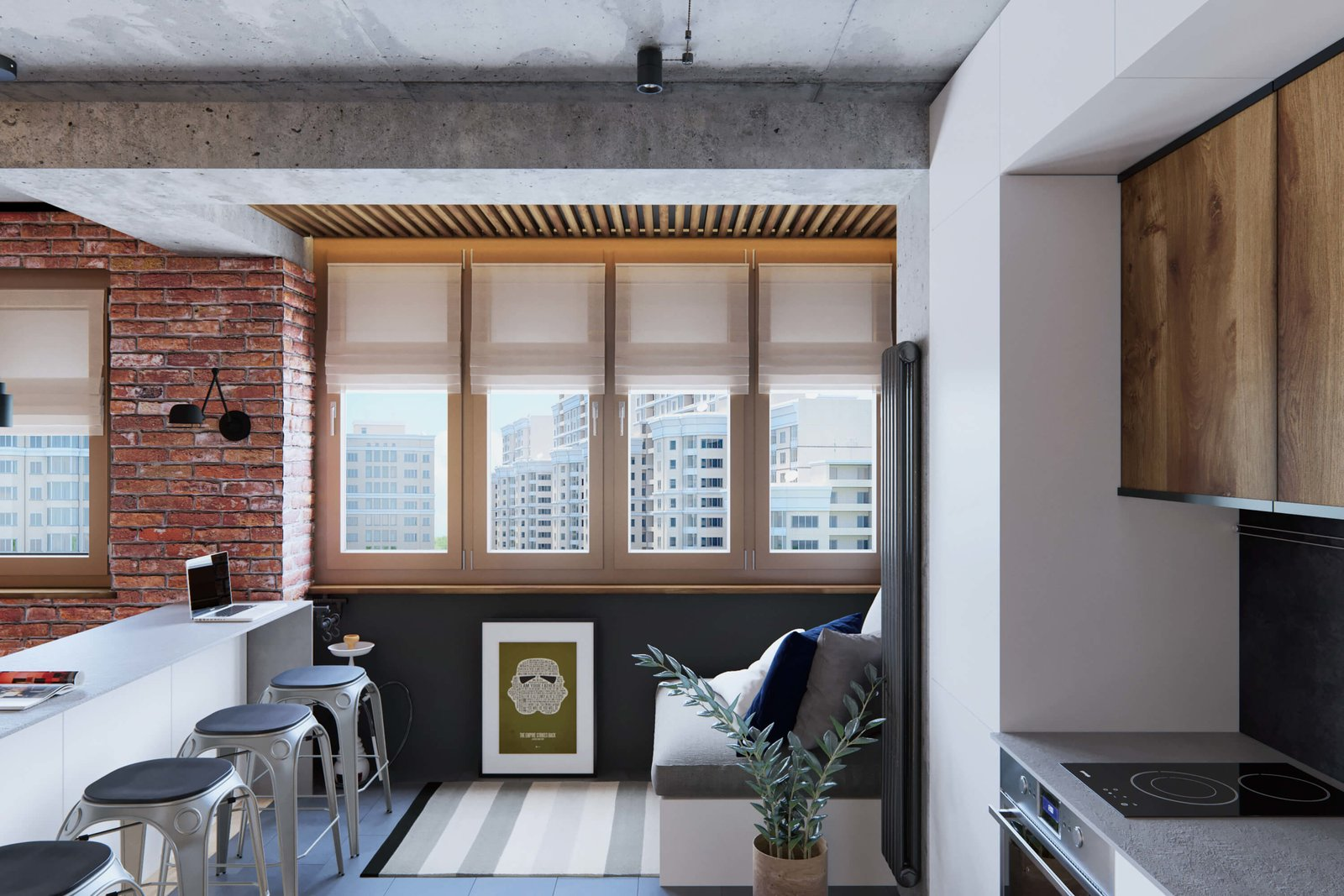 Kitchen, Wood Counter, and Metal Counter  A Contemporary Apartment for a Single Man in Moscow