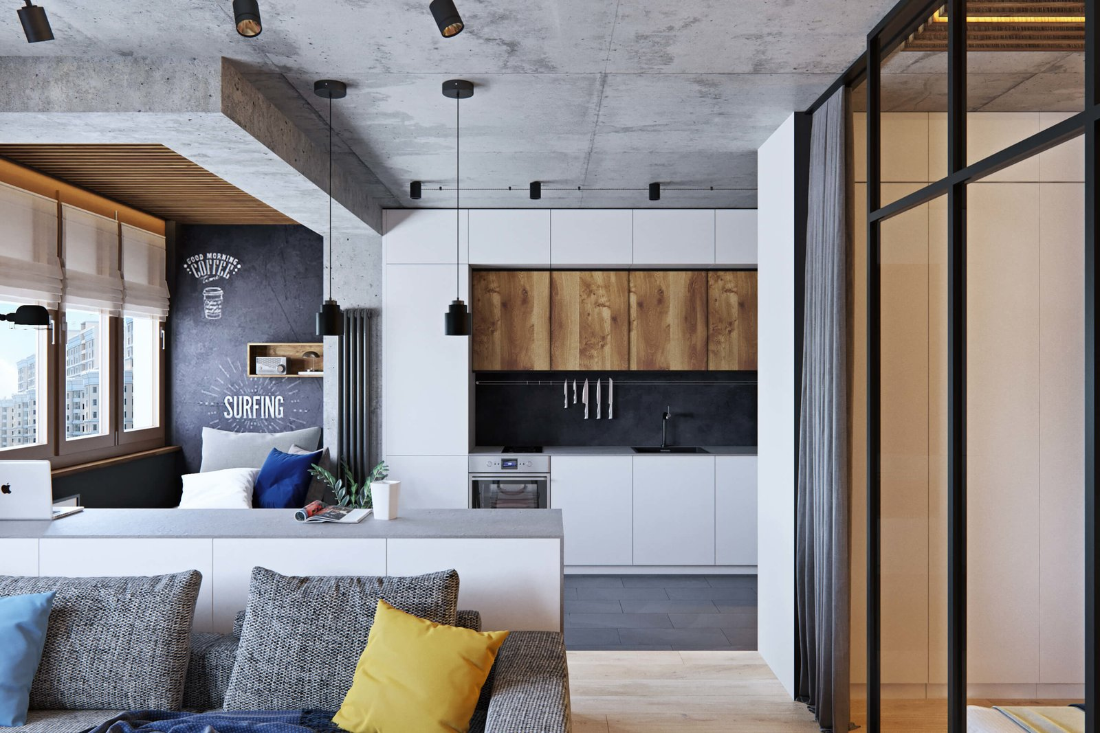 Living Room  A Contemporary Apartment for a Single Man in Moscow