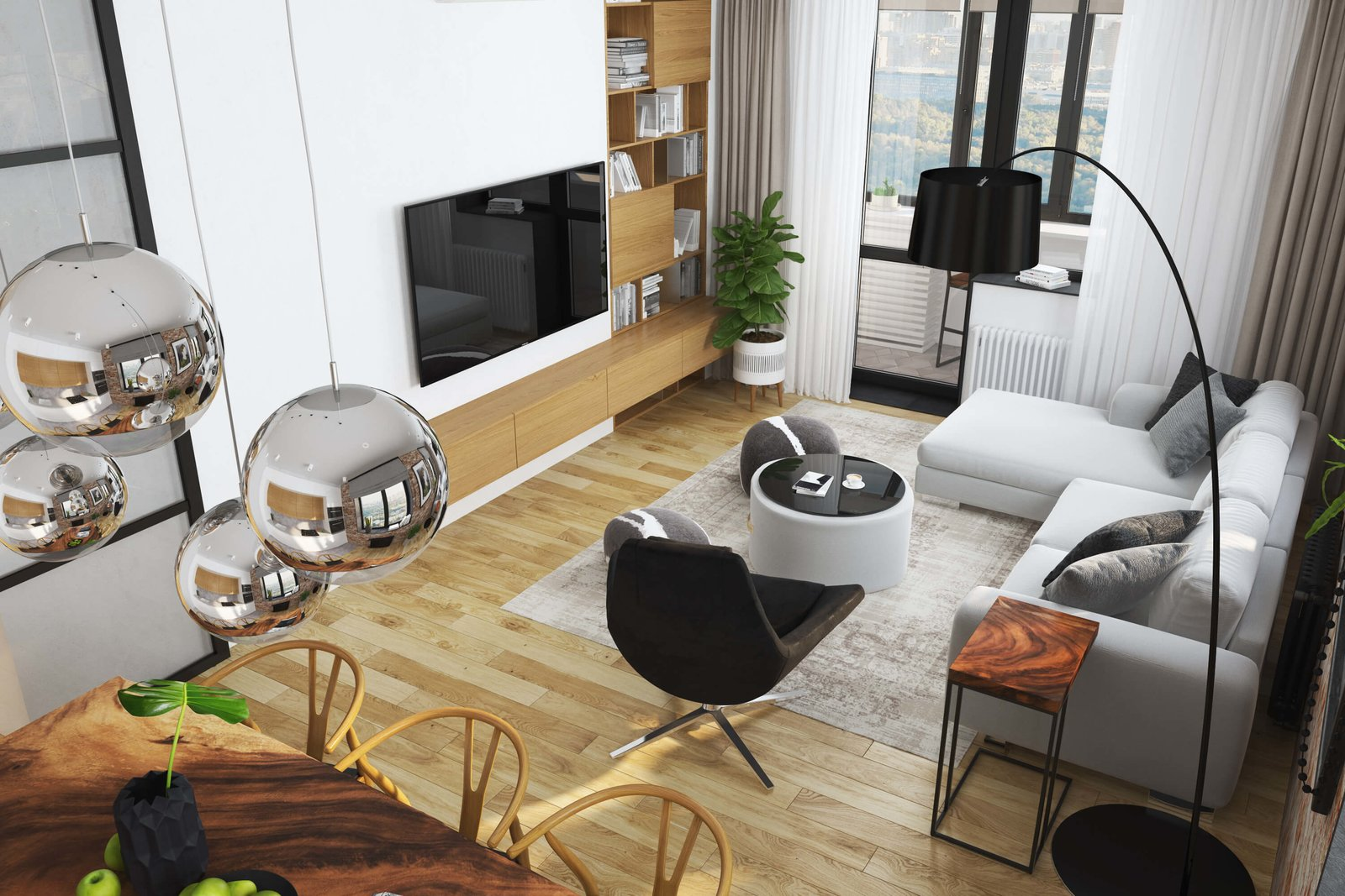 Living Room  Contemporary Eco-Style Apartment