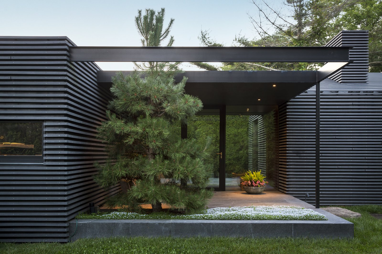 Outdoor, Grass, Trees, Front Yard, Gardens, Small, Stone, and Planters  Best Outdoor Planters Stone Photos from Black House