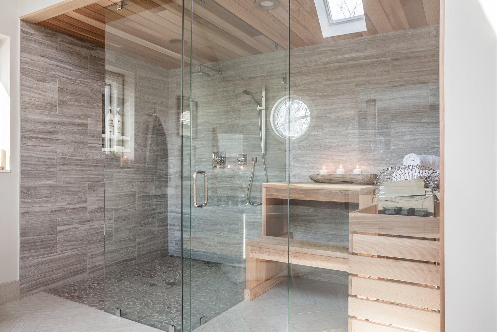 Bath Room, Wall Mount Sink, Freestanding Tub, and Open Shower  Ramsey Bathroom Remodel