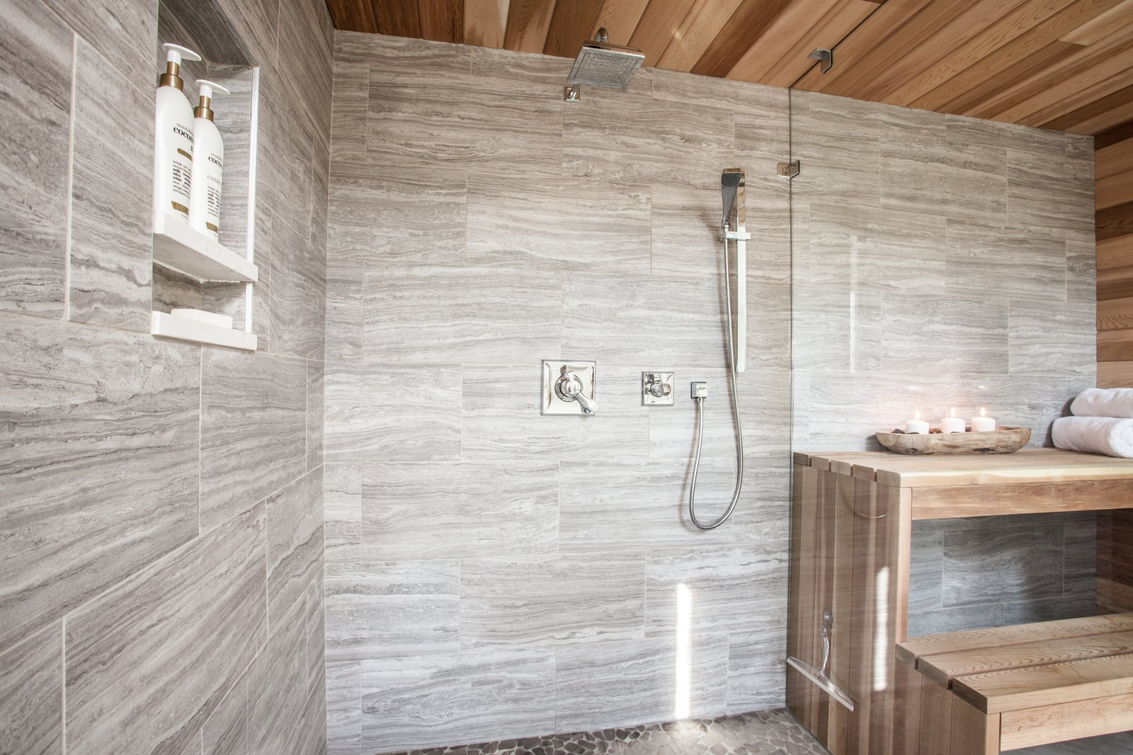 Bath Room, Freestanding Tub, Wall Mount Sink, and Open Shower  Ramsey Bathroom Remodel
