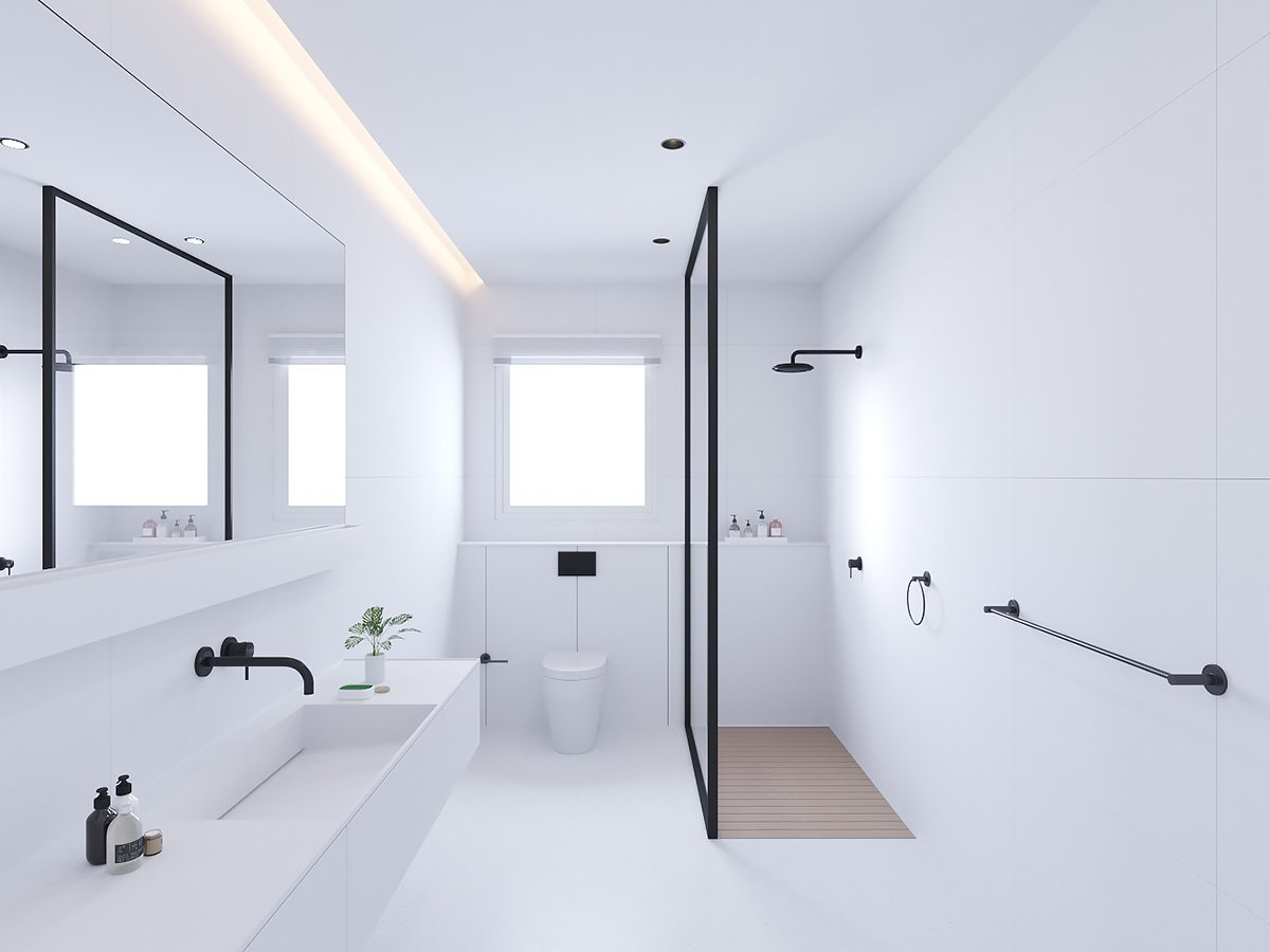 Bath Room, Tile Counter, and Laminate Counter  Master Bath from AT | Wohnung