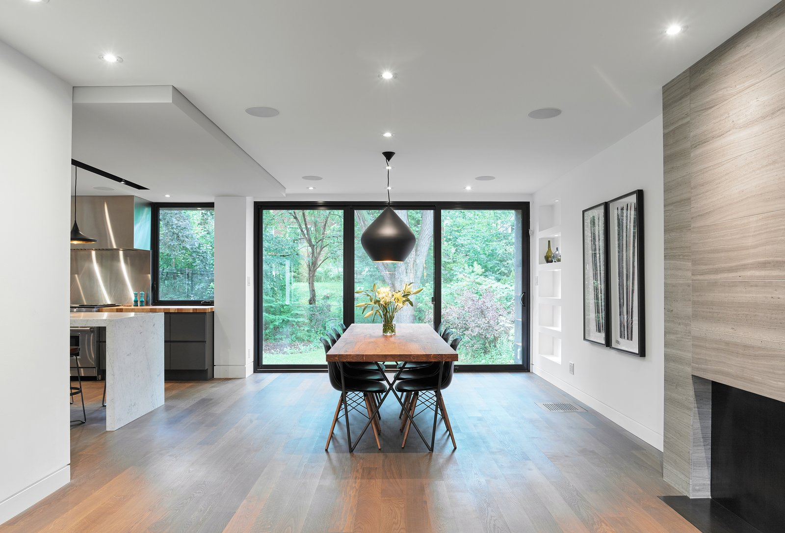 Dining, Standard Layout, Pendant, Table, Wood Burning, Medium Hardwood, Chair, Shelves, and Recessed  Best Dining Standard Layout Chair Table Medium Hardwood Photos from Hibou House
