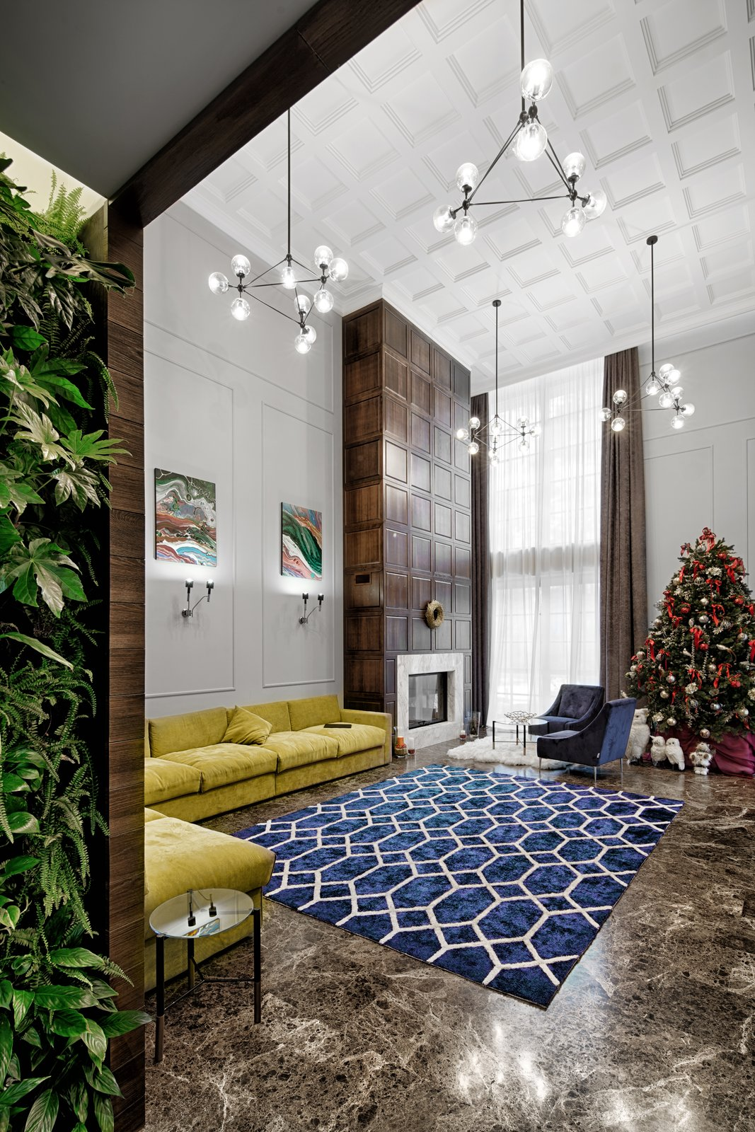 Living Room, Wall Lighting, Limestone Floor, Chair, Sofa, Ceiling Lighting, and Wood Burning Fireplace  Prairie House by 33bY Architecture