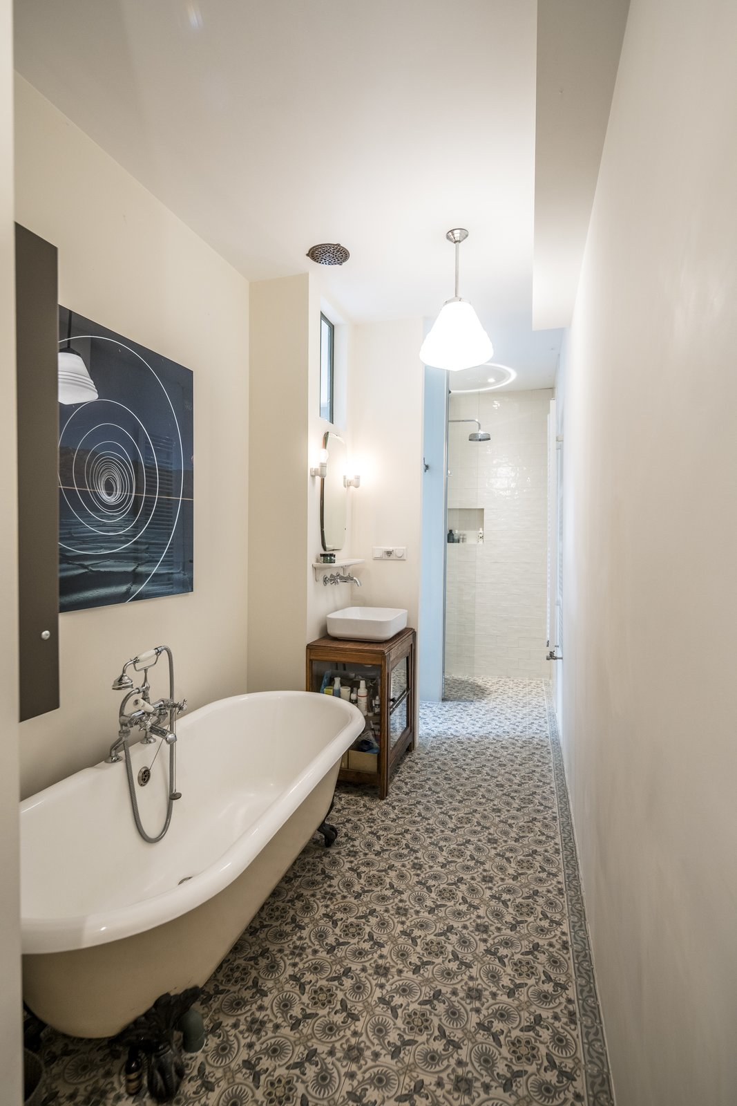 Bath Room, Ceramic Tile Floor, Open Shower, Wall Lighting, and Ceiling Lighting -  The Prinseneiland House