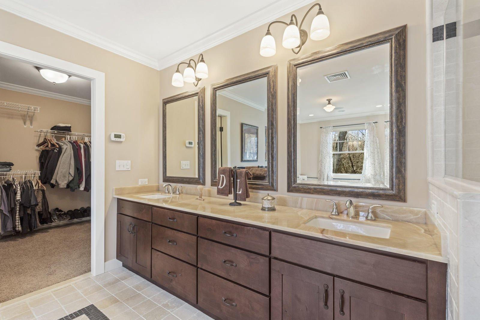 Bath Room, Wall Lighting, Undermount Sink, and Granite Counter  Shingle Style Rustic Chic