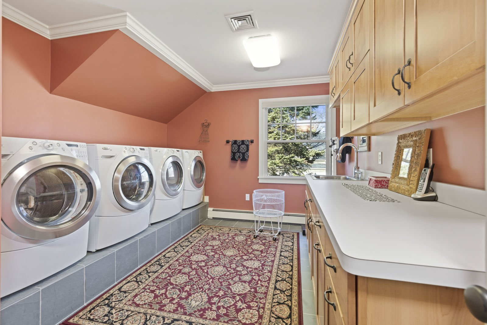 Laundry Room, Side-by-Side, and Wood Cabinet  Shingle Style Rustic Chic