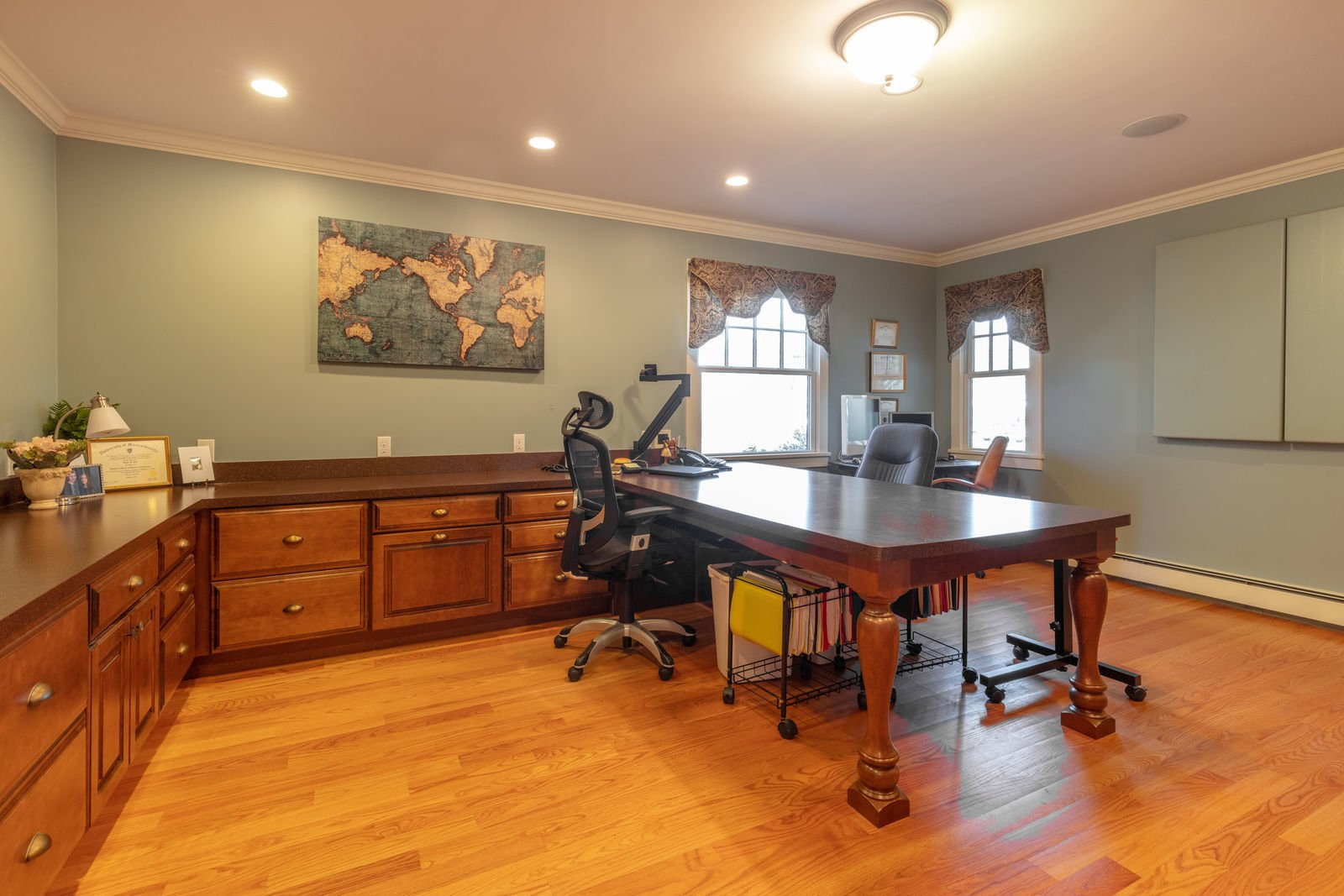 Office, Chair, Medium Hardwood Floor, and Study Room Type  Shingle Style Rustic Chic