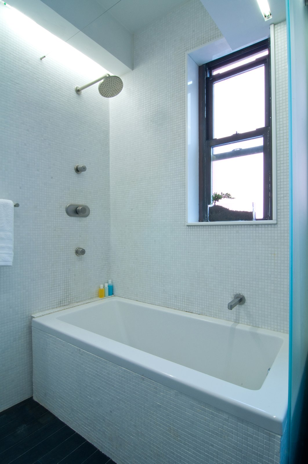 Bath Room, Dark Hardwood Floor, Vessel Sink, Drop In Tub, Mosaic Tile Wall, and Two Piece Toilet  Park Avenue Studio