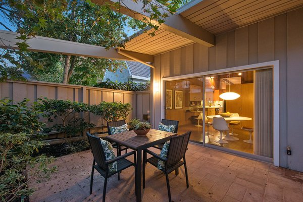 Front patio with a view of the kitchen