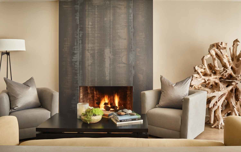 Living Room, Floor Lighting, Chair, Sofa, Coffee Tables, Medium Hardwood Floor, and Gas Burning Fireplace  Kessler Residence
