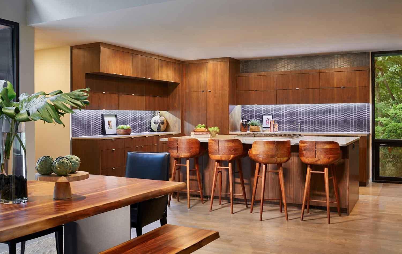 Kitchen, Granite, Wood, Recessed, Accent, Undermount, Medium Hardwood, and Ceramic Tile  Best Kitchen Recessed Accent Wood Ceramic Tile Photos from Kessler Residence