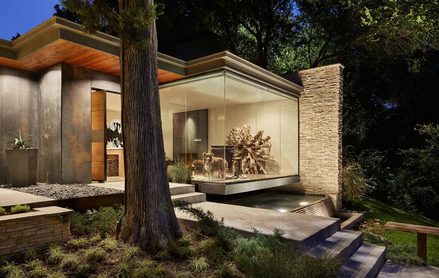 Exterior, House Building Type, Metal Roof Material, Metal Siding Material, Wood Siding Material, Stone Siding Material, and Flat RoofLine  Kessler Residence
