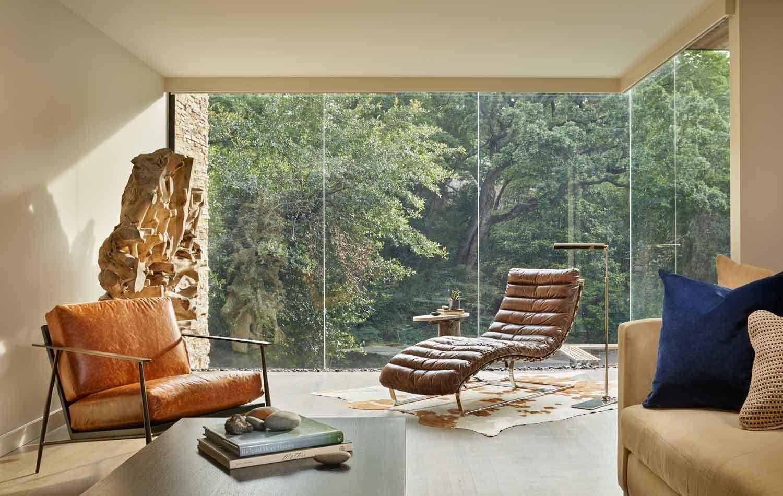 Living Room, Sofa, Chair, Ottomans, End Tables, Coffee Tables, Recessed Lighting, and Medium Hardwood Floor  Kessler Residence