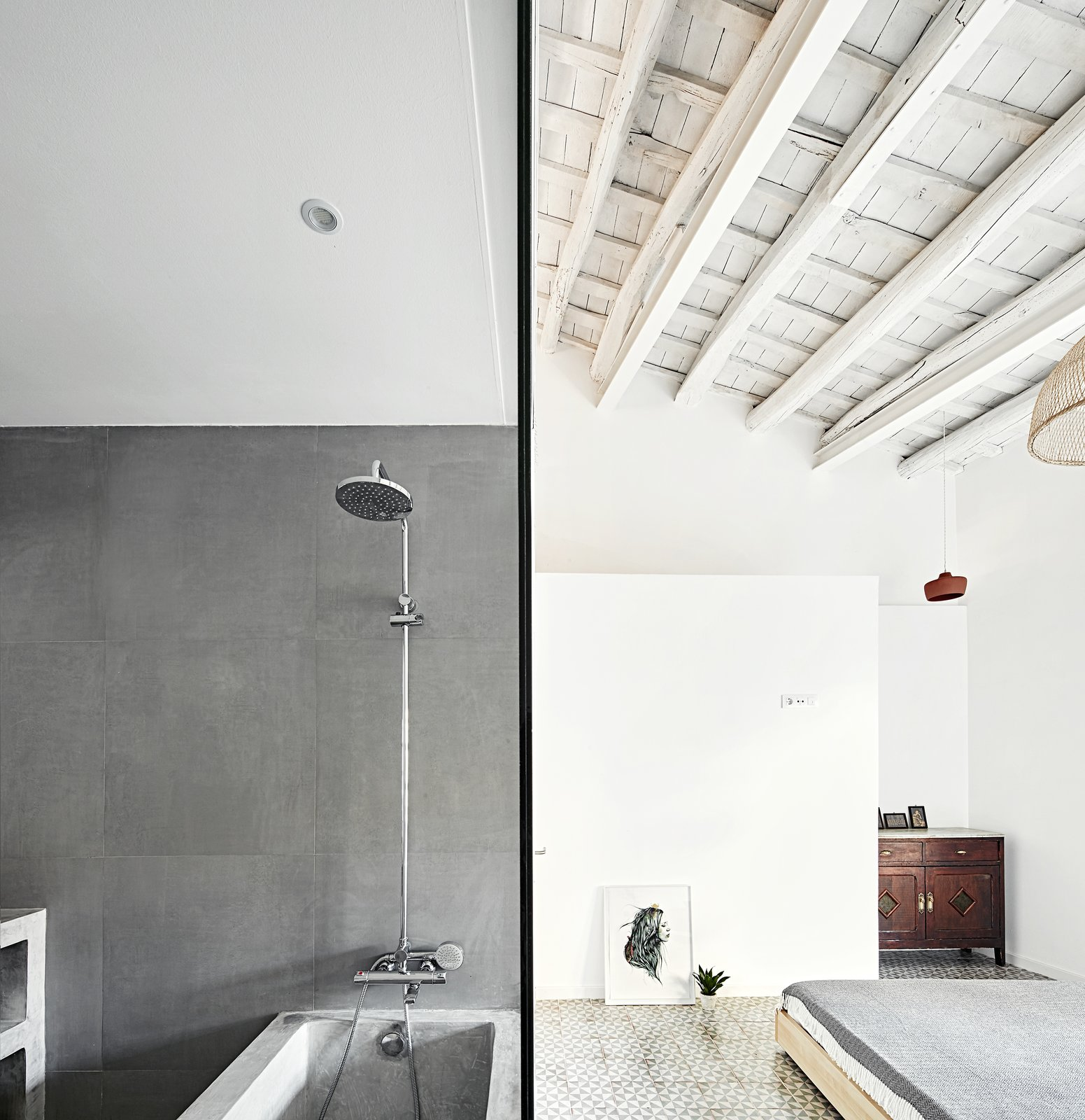 Bath Room, Open Shower, Recessed Lighting, Alcove Tub, and Concrete Wall  Photo 6 of 11 in Can This Renovated, Loft-Like Home in Spain Be Any Dreamier?