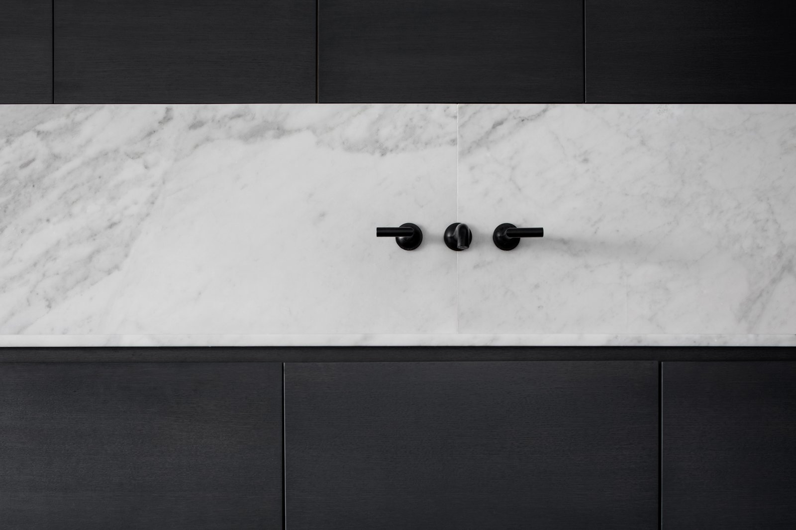 Kitchen, Marble Counter, Wood Cabinet, Marble Backsplashe, and Undermount Sink  Saint-Laurent Apartment by Atelier Barda