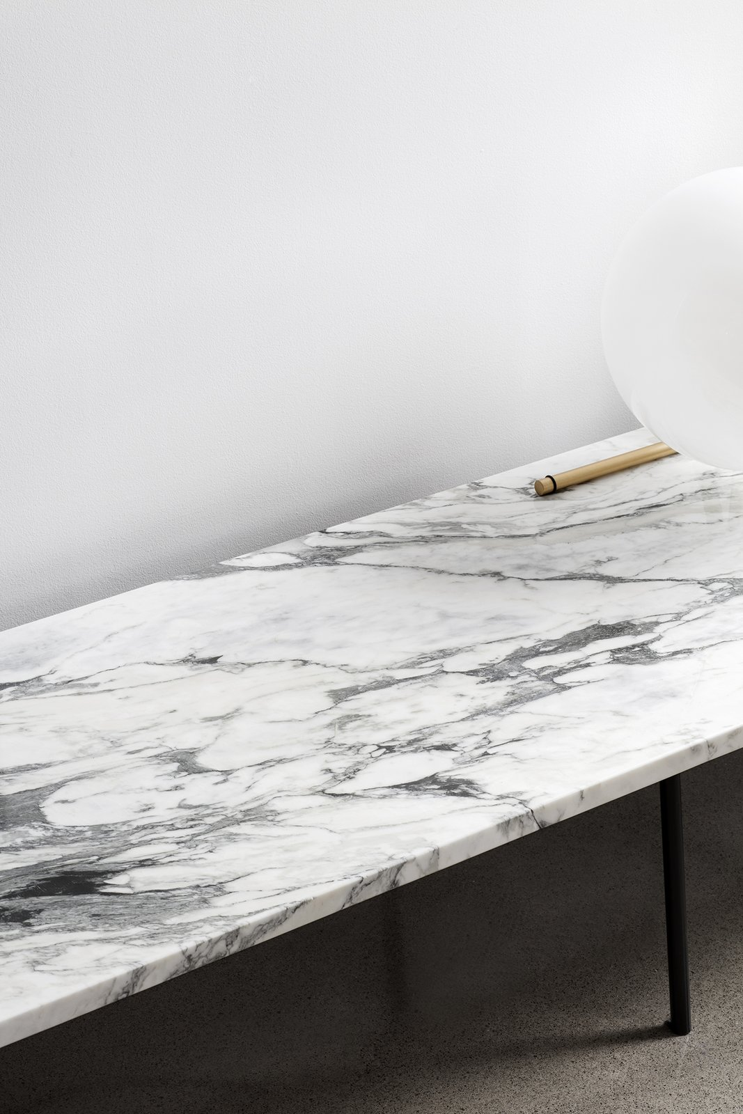 Living Room, Bench, Table Lighting, Lamps, Storage, Stools, Concrete Floor, Marble Floor, and Console Tables  Saint-Laurent Apartment by Atelier Barda