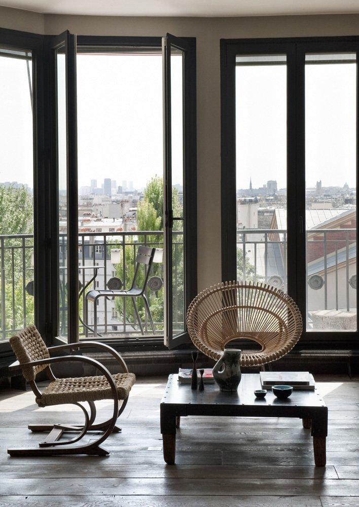 Living Room, Chair, Coffee Tables, Medium Hardwood Floor, and Dark Hardwood Floor  Chabrol Apartment by Atelier Barda