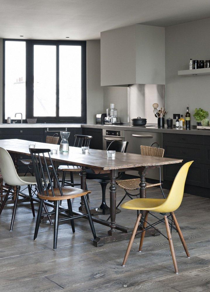 Dining Room, Table, Chair, Recessed Lighting, Ceiling Lighting, Medium Hardwood Floor, and Dark Hardwood Floor  Chabrol Apartment by Atelier Barda