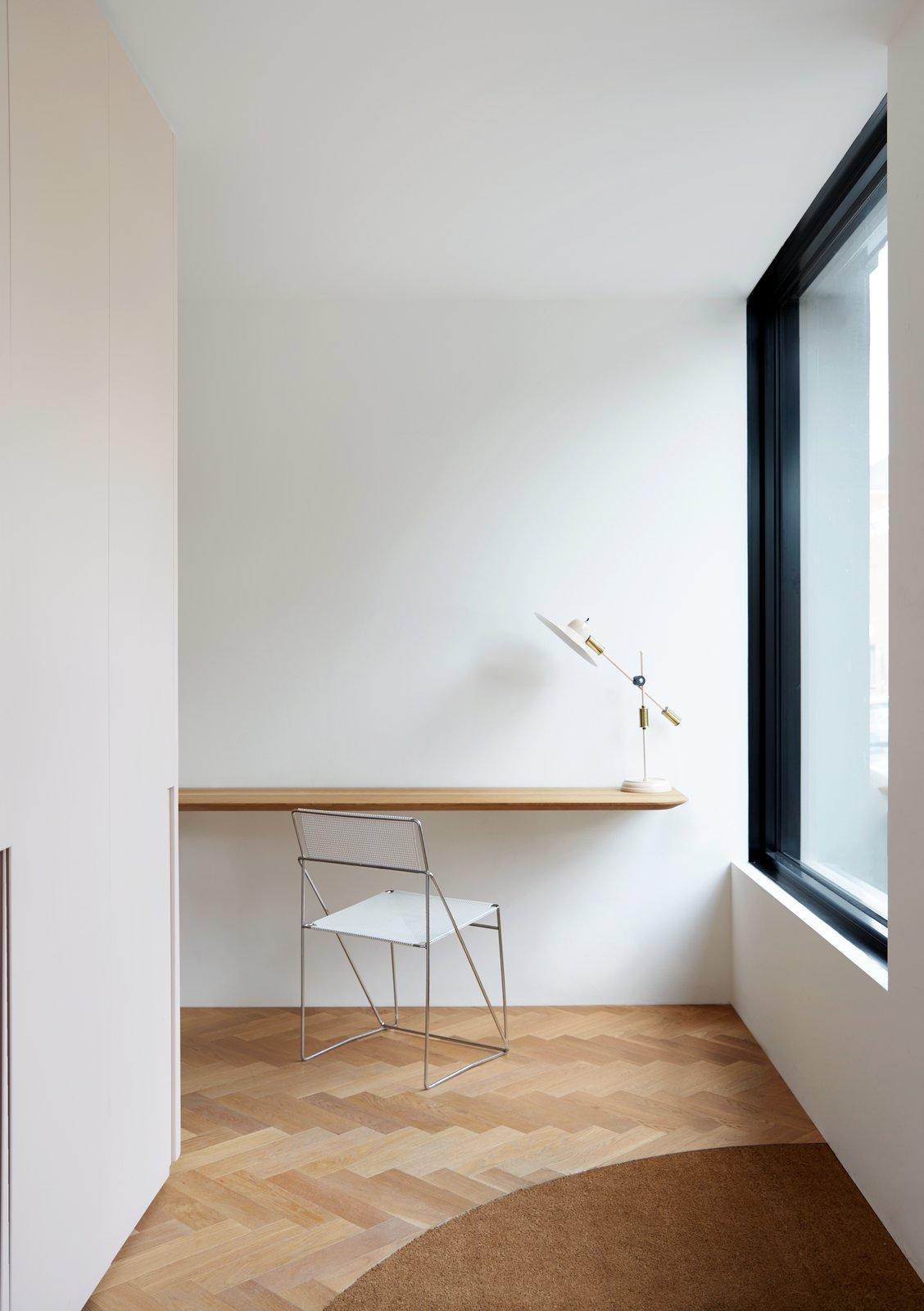 Office, Chair, Light Hardwood, Carpet, Storage, Desk, Lamps, and Study  Best Office Lamps Carpet Study Photos from Villeneuve Residence