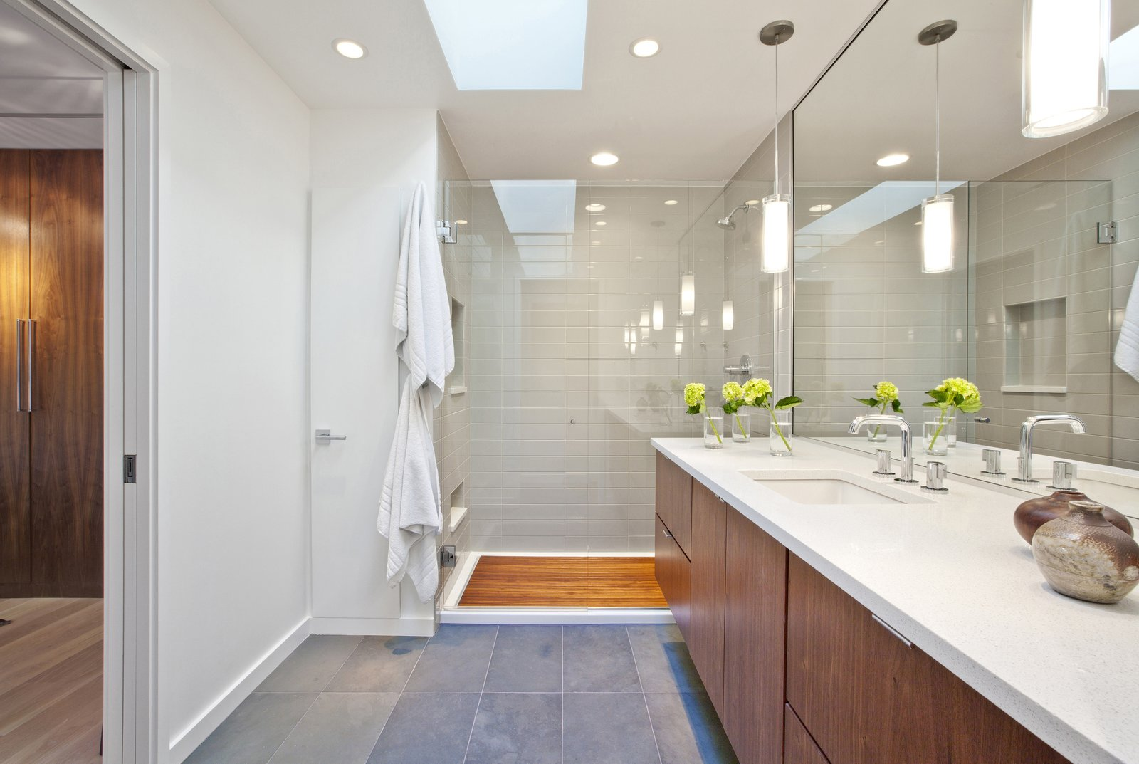 Bath Room, Engineered Quartz Counter, Open Shower, Undermount Sink, Enclosed Shower, Slate Floor, Recessed Lighting, Pendant Lighting, and Ceramic Tile Wall  MCM 220 by HAUS | Architecture For Modern Lifestyles