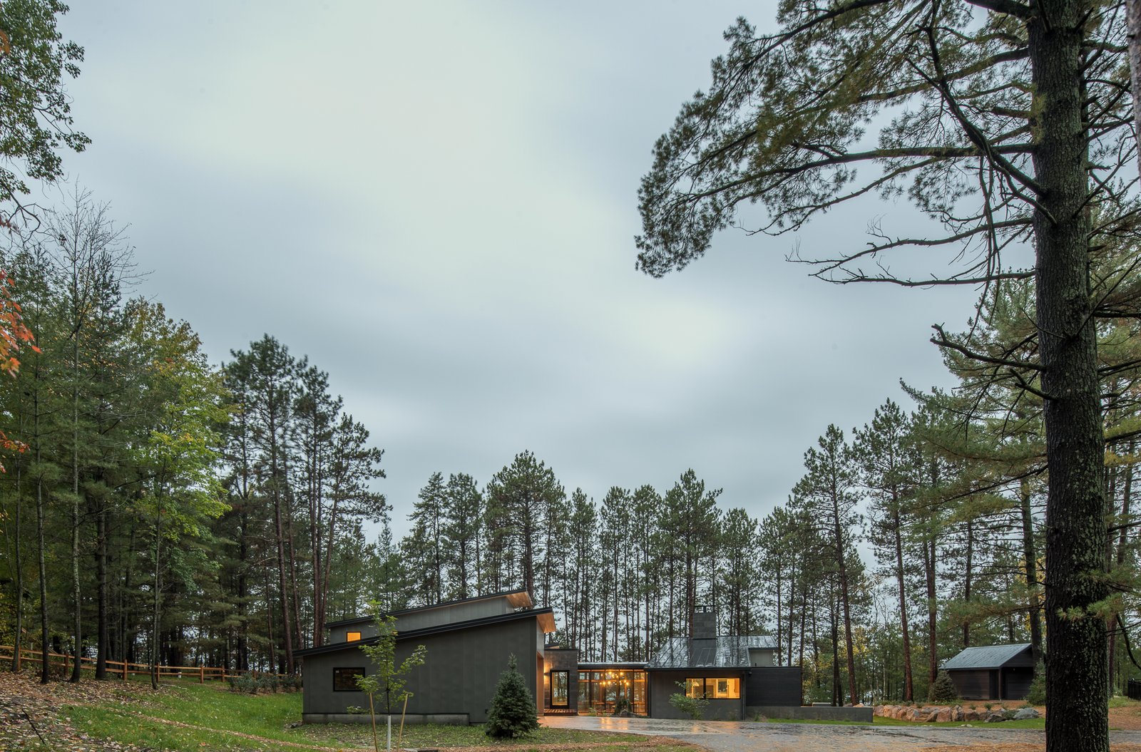 Exterior, Cabin, House, Metal, Wood, Concrete, Metal, Stone, Flat, and Shed  Best Exterior Metal House Flat Metal Cabin Photos from Northern Lake Home