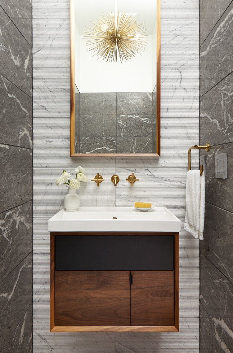 Bath Room, Wall Mount Sink, Ceiling Lighting, Pendant Lighting, Stone Tile Wall, and Marble Wall  Theodore Wirth Ranch by Strand Design