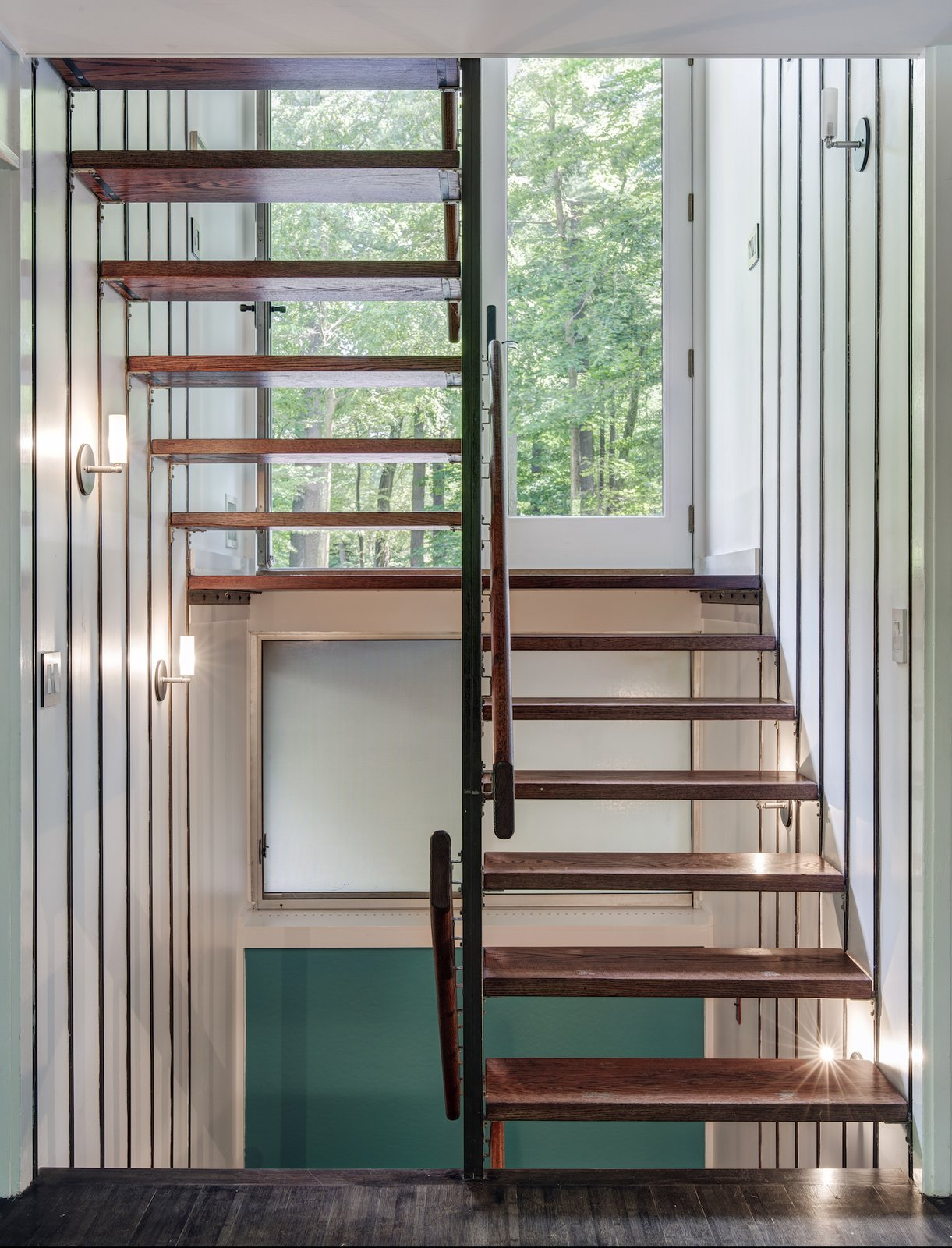 Staircase, Wood Tread, and Wood Railing  Photo 9 of 13 in A Showstopping Midcentury in New Canaan Hits the Market