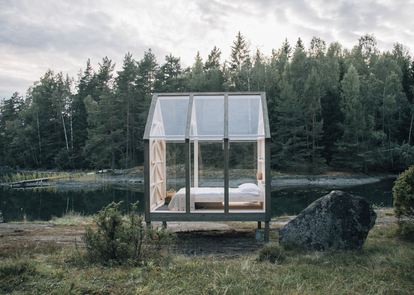 Exterior, Cabin Building Type, Gable RoofLine, and Glass Siding Material  Photo 5 of 10 in Stressed Out? Sweden's 72 Hour Cabins Are Designed to Soothe