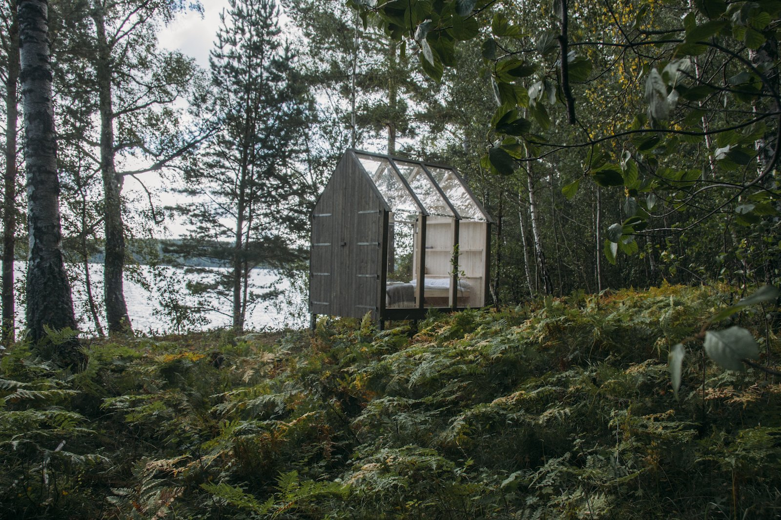 Exterior, Cabin Building Type, Glass Siding Material, and Wood Siding Material  Photo 8 of 10 in Stressed Out? Sweden's 72 Hour Cabins Are Designed to Soothe