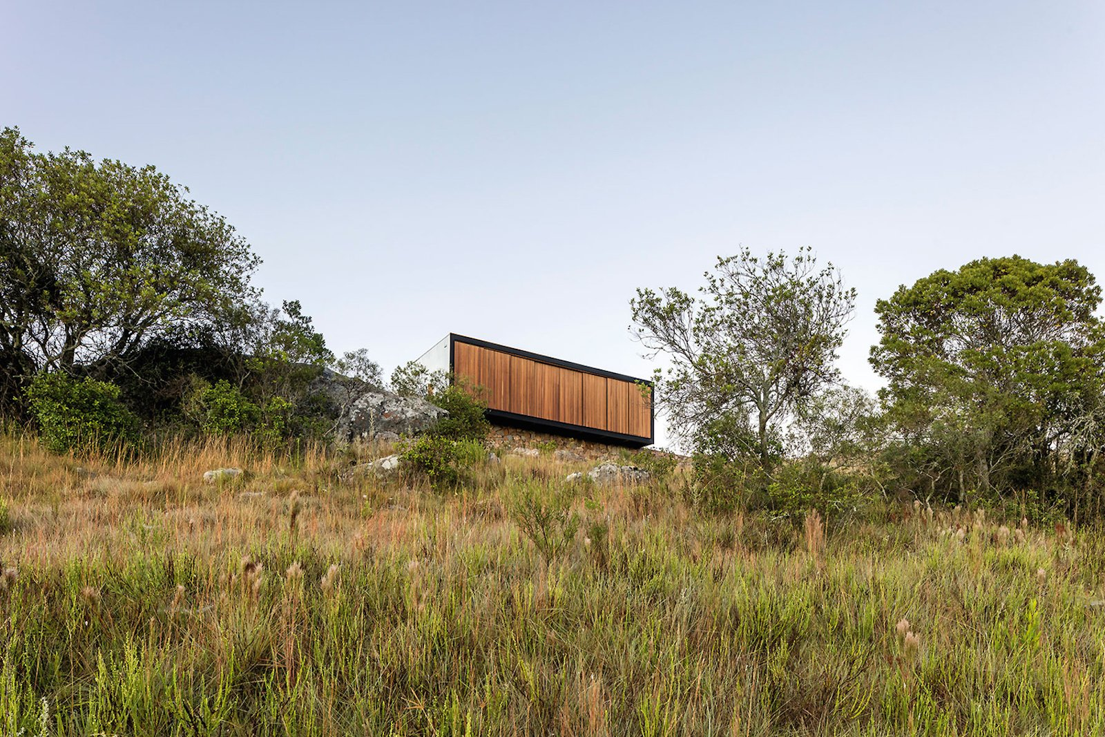 Exterior, House Building Type, Prefab Building Type, Wood Siding Material, and Flat RoofLine  Photo 8 of 16 in A Remote Prefab in Uruguay Is Completely Self-Sufficient
