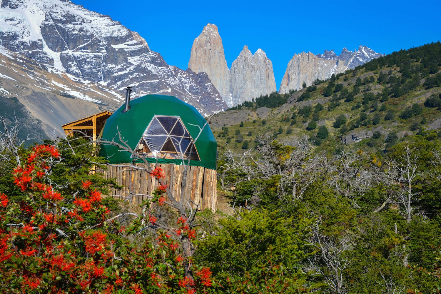 Exterior, Dome, Wood, and Tent  Best Exterior Wood Tent Photos from Soak Up the Magic of Patagonia at This Eco-Friendly Geodesic Dome Retreat