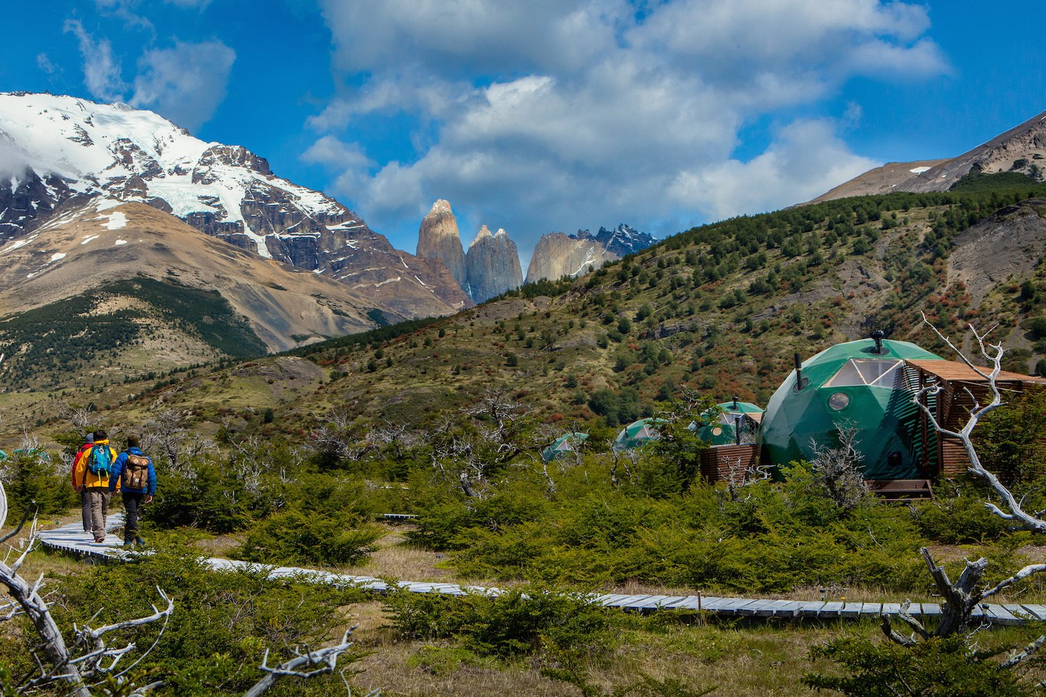 Outdoor, Shrubs, Slope, Field, Woodland, Boulders, Trees, and Walkways  Photo 8 of 13 in Soak Up the Magic of Patagonia at This Eco-Friendly Geodesic Dome Retreat