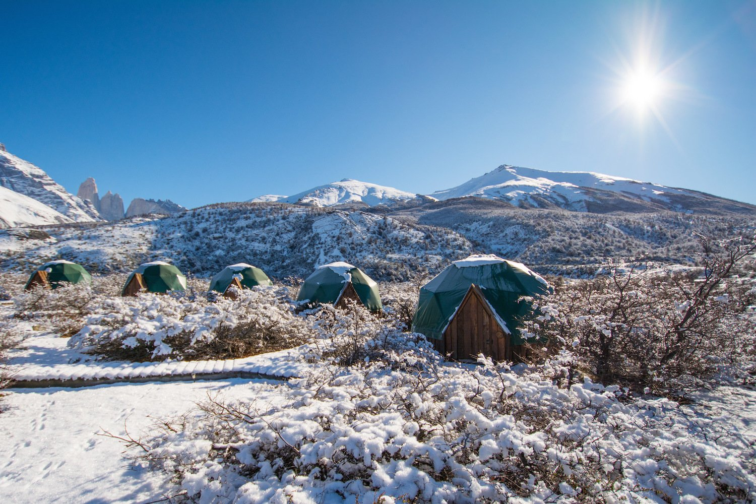 Exterior, Wood Siding Material, and Tent Building Type  Photos from Soak Up the Magic of Patagonia at This Eco-Friendly Geodesic Dome Retreat