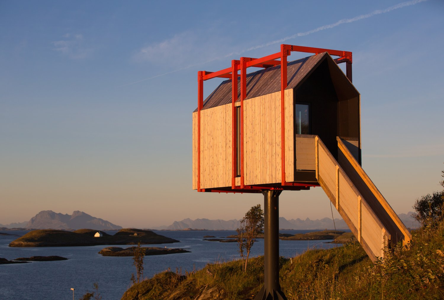 Exterior, Wood, Metal, Cabin, and Gable  Best Exterior Wood Gable Metal Cabin Photos from Grab Your Friends and Escape to a Remote Cabin Cluster on a Norwegian Island