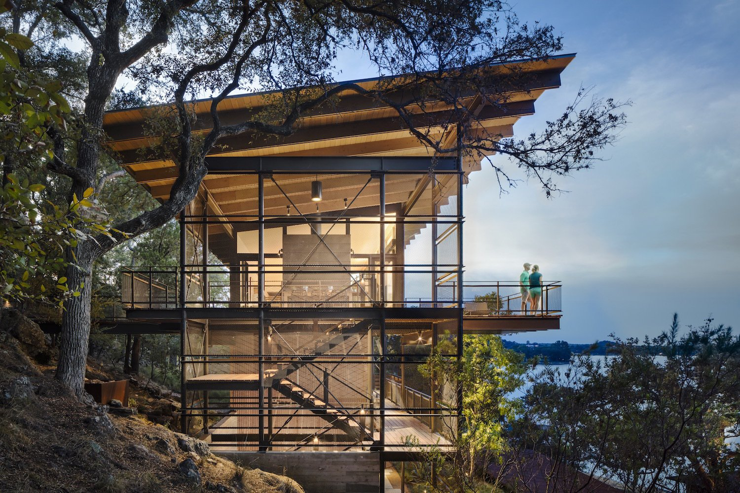 Exterior, Metal Siding Material, House Building Type, Glass Siding Material, and Shed RoofLine  Photo 11 of 11 in A Spectacular Lakeside Retreat in Texas Embraces the Outdoors