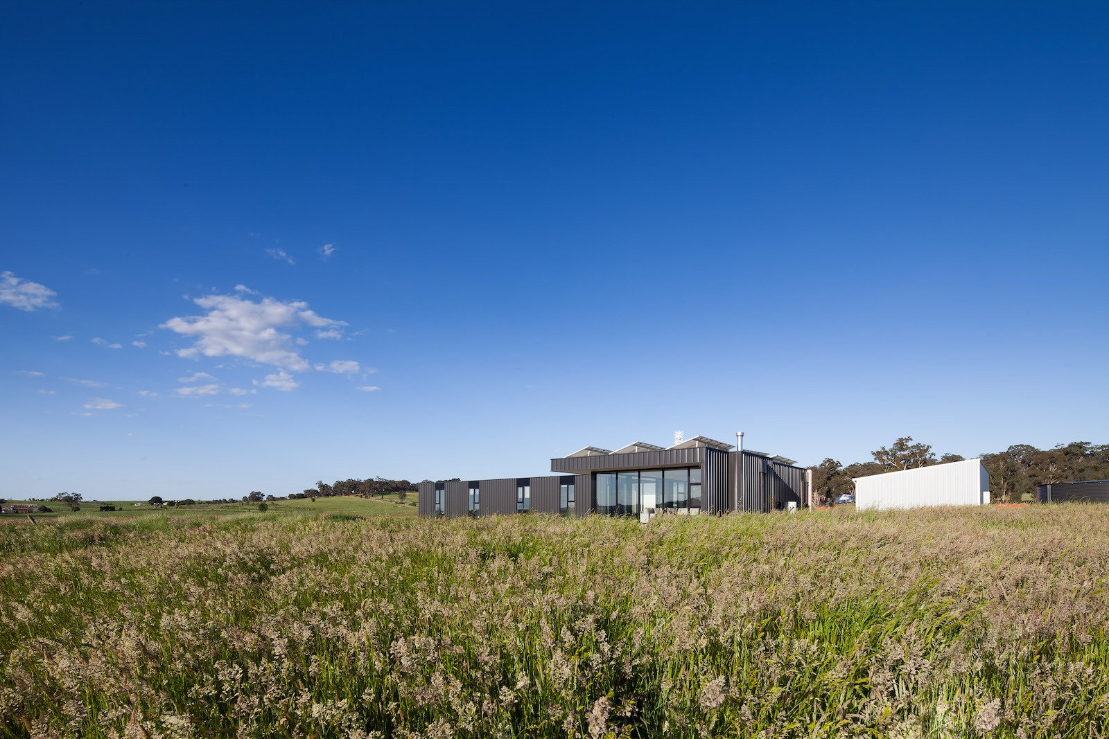 Outdoor, Grass, and Field  Photo 4 of 10 in Two Families Embrace Off-Grid Living in This Sustainable Prefab Home